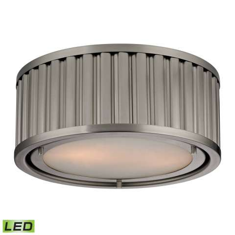 Linden Collection 2 light flush mount in Brushed Nickel - LED - 800 Lumens (1600 Lumens Total) Wi…
