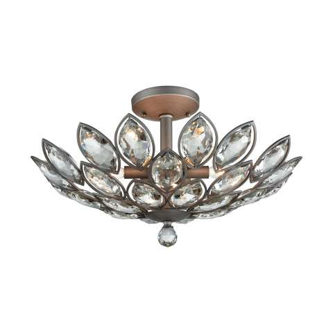 La Crescita 6 Light Semi Flush In Weathered Zinc With Clear Crystal