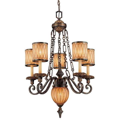 Metropolitan N6495-270 Six Light Chandelier in Terraza Villa Aged Patina™ w/ Gold Leaf Accents finish with Spumanti Strato Glass