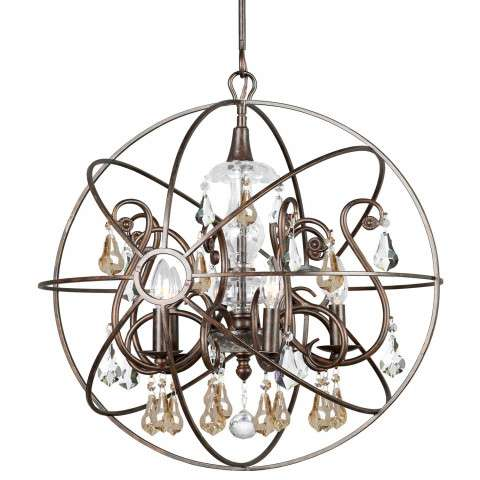 Crystorama 9026-EB-GS-MWP Chandelier with hand-painted wrought iron sphere and a crystal chandelier dressed with golden shade hand-cut crystals.