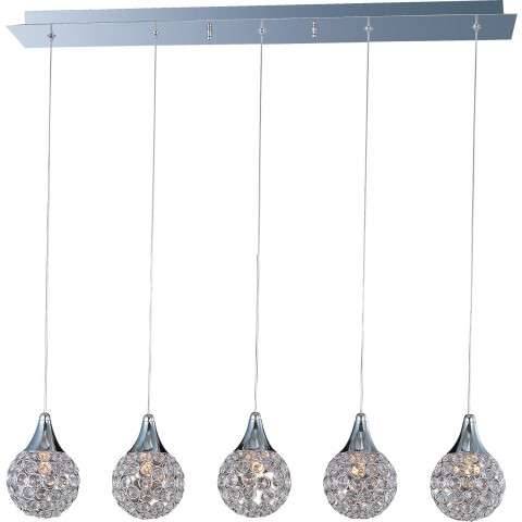 ET2 Contemporary Lighting E24025-20PC Brilliant 5-light Linear Pendant in Polished Chrome finish with Crystals