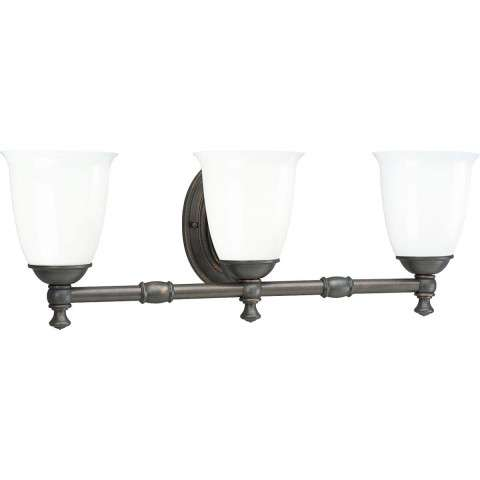 Progress P3029-74 Delta Three-light bath bracket in Venetian Bronze finish with white opal glass.