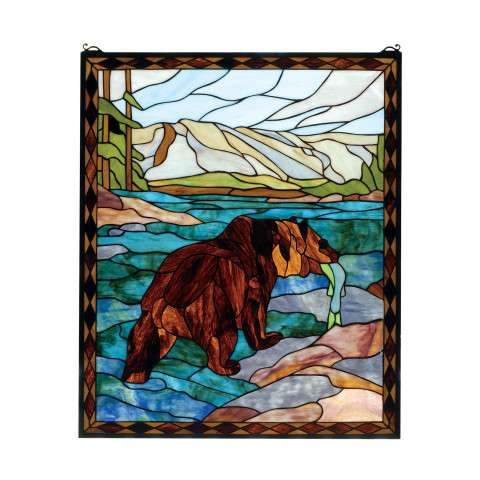 Meyda Tiffany 72934 Grizzly Bear Stained Glass Window in Rust finish