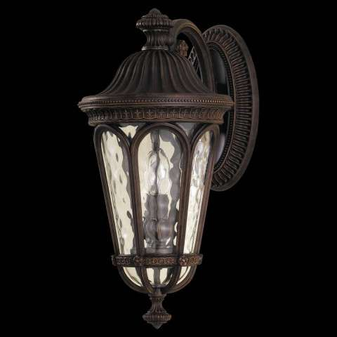 Murray Feiss OL5601WAL Regent Court Outdoor Lantern in Walnut finish with Blown clear water glass shade