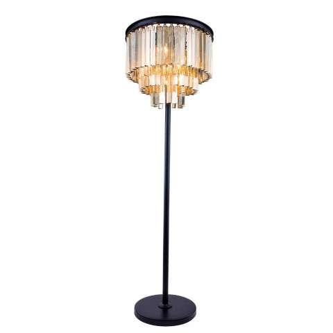 "1201 Sydney Collection Floor Lamp D:20"" H:63"" Lt:4 Mocha Brown Finish (Royal Cut Golden Teak  Crystals)"