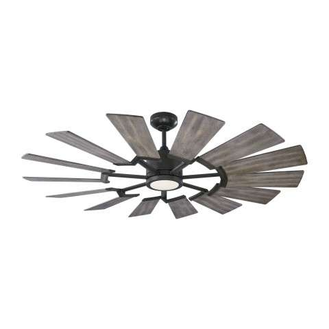 14PRR52AGPD Prairie Ceiling Fan with Distressed Grey Weathered Oak blades - Shown With Light