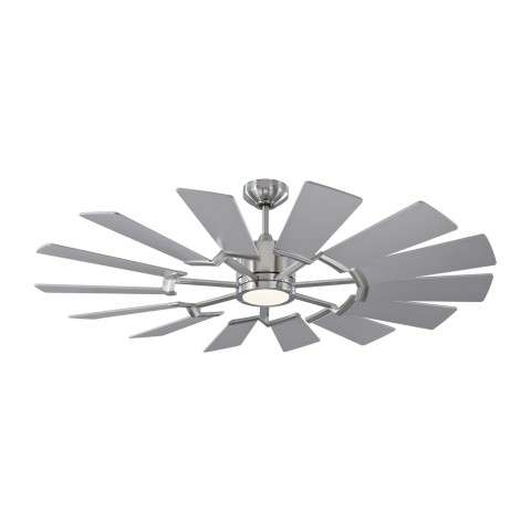 52-inch Prairie Windmill Ceiling Fan - Brushed Steel