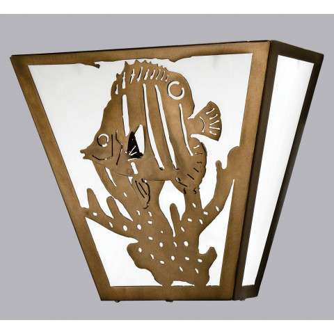 Meyda Tiffany 23909 Tropical Fish Wall Sconce in Antique Copper finish