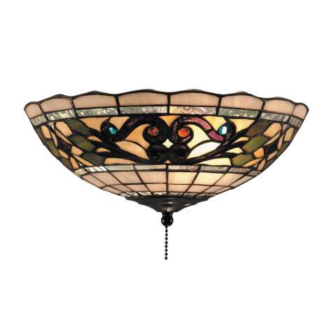 Tiffany Buckingham 2-Light Fan Kit/Ceiling Mount In Vintage Antique With Tiffany Style Glass