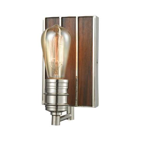 Brookweiler 1 Light Vanity In Polished Nickel With Dark Wood Backplate