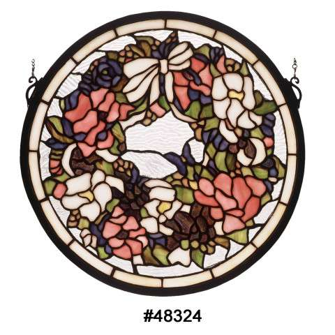 Meyda Tiffany 48324 Wreath and Garland Medallion Stained Glass Window with Clear Seedy Glass