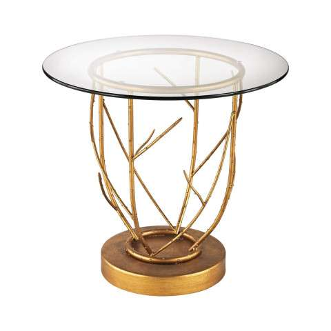 Thicket Side Table In Gold Leaf And Clear Glass