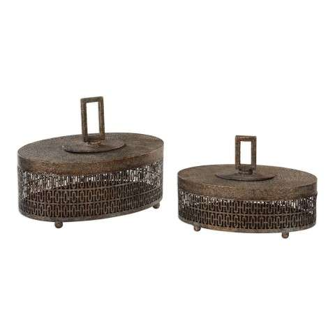 Agnese Antiqued Gold Boxes - Set Of 2