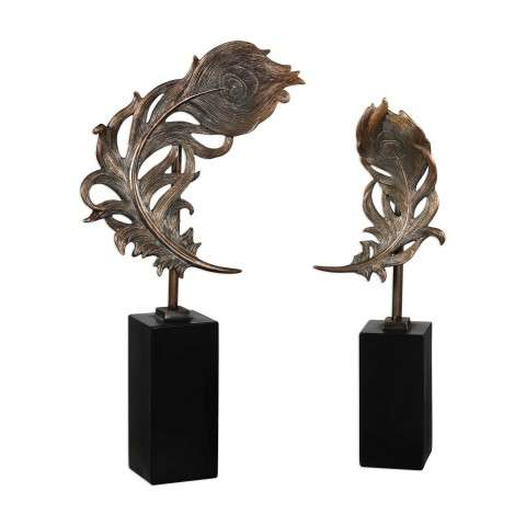 Quill Feathers Sculpture S/2