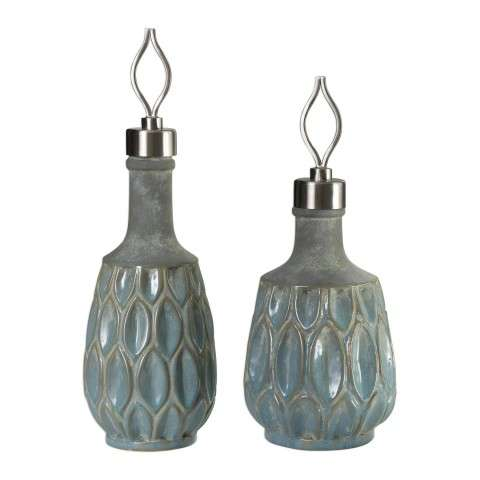 Arpana Blue And Gray Bottles S/2