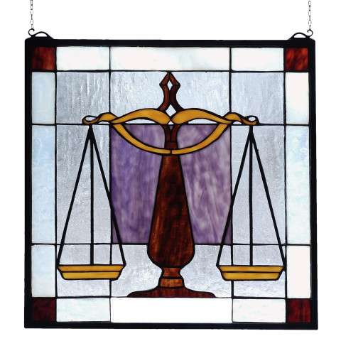 Meyda Tiffany 81551 Judicial Stained Glass Window in Solid Brass finish