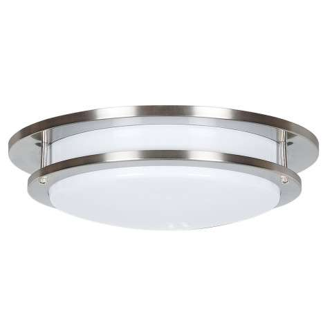 Sunset Lighting F9883-80 16 inch 2-light Round Ceiling Fixture in Bright Satin Nickel Finish
