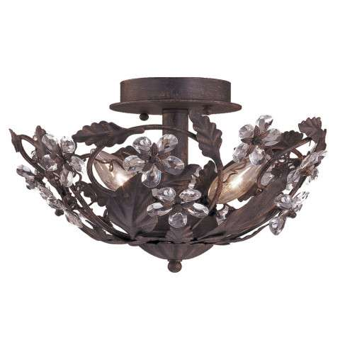 Crystorama 5305-DR Abbie Collection Hand Cut Crystal Semi Flush