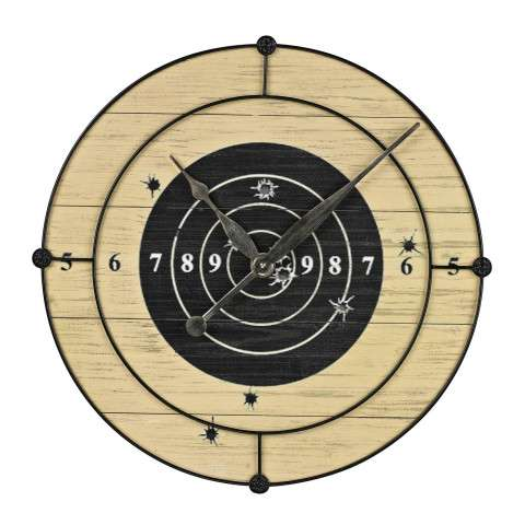 Clock - Target Practice Wall Clock - Wood and Metal