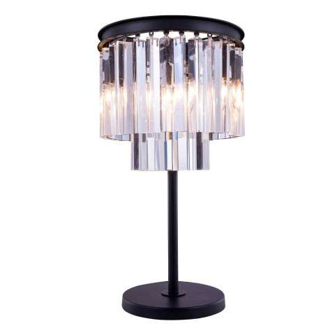 "1201 Sydney Collection Table Lamp D:14"" H:26"" Lt:3 Mocha Brown Finish (Royal Cut  Crystals)"