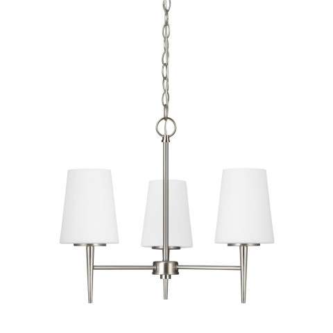 Driscoll - Three Light Chandelier in Brushed Nickel