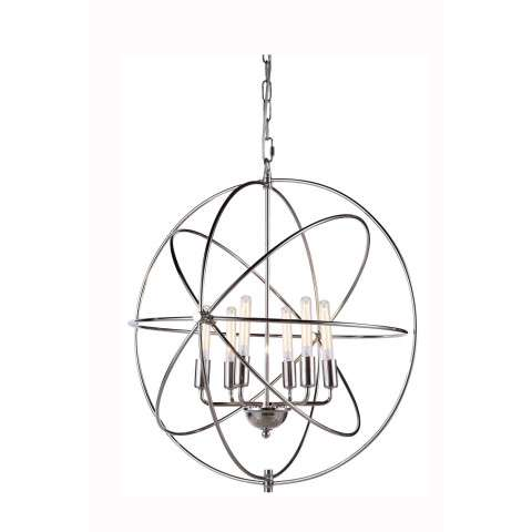 "1453 Vienna Collection Pendant lamp D:25"" H:27"" Lt:6 Polished Nickel Finish"