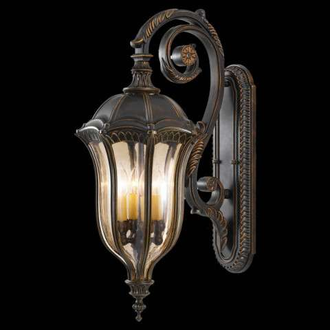 Murray Feiss OL6004WAL Baton Rouge Outdoor Lantern - Wall Mount in Walnut finish with Gold Luster Tinted Glass