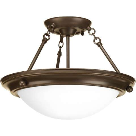 Eclipse Antique Bronze 2-Lt. close-to-ceiling with Satin white glass bowl