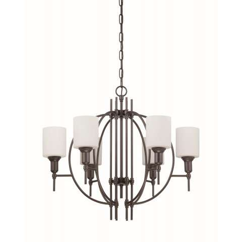 Meridian 6 Light Chandelier in Espresso