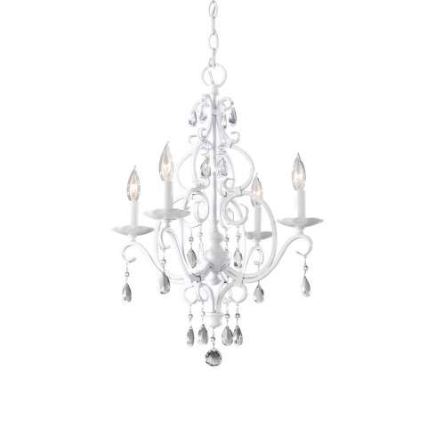Chateau Blanc 4 Bulb Semi Gloss White Chandelier