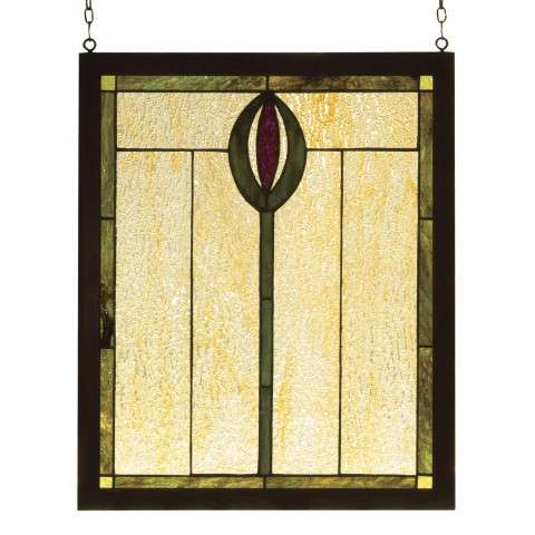 Meyda Tiffany 98100 Spear Wood Frame Stained Glass Window in Copperfoil finish