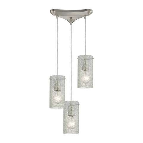 Ice Fragments 3 Light Pendant In Satin Nickel