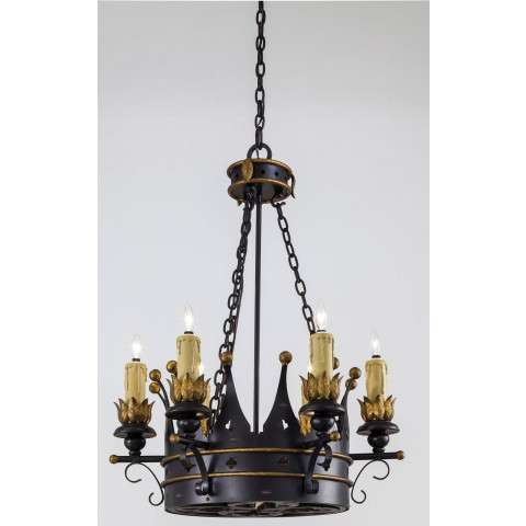 Metropolitan N6108-20 Nine Light Chandelier in French Black with Gold Leaf Highlights finish with Optional Hand-Painted Parchment Shade (Not Incl.)
