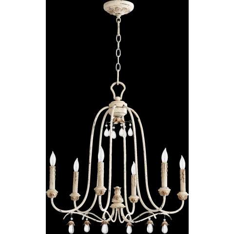 "Venice 24"" 6 Light Chandelier in Persian White"