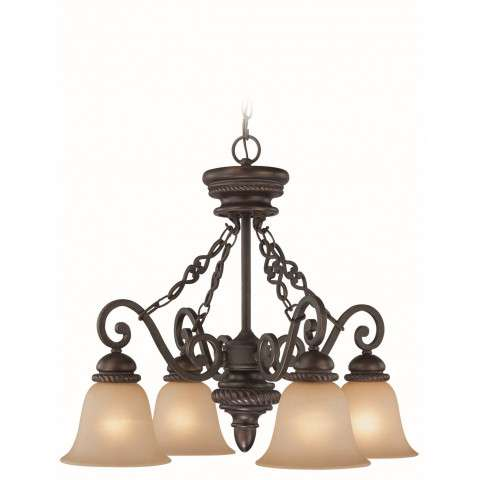 Craftmade Exteriors Highland Place - Mocha Bronze 4 Light Down Chandelier in Mocha Bronze