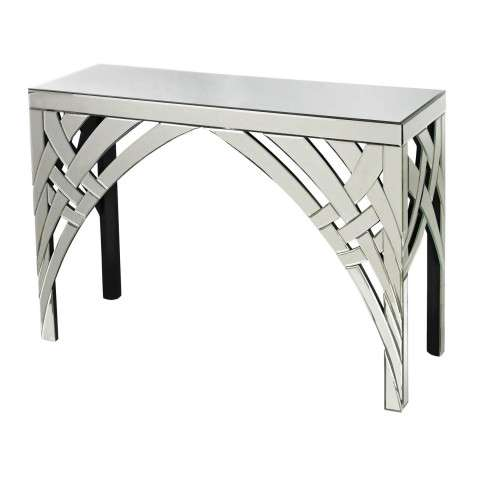 Console Table - Curved Ribbons Mirrored Console - Glass and Mdf