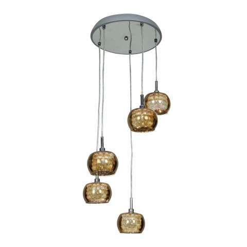 Glam Mirror Glass with Crystal 5 -Light Pendant