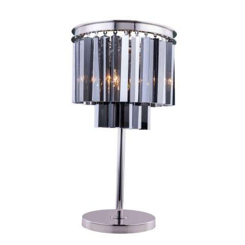 "1201 Sydney Collection Table Lamp D:14"" H:26"" Lt:3 Polished nickel Finish (Royal Cut  Crystals)"