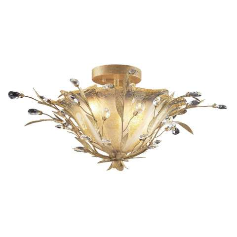 Elk Lighting 8069/2 2 Light Semi Flush In Russet Beige And Crystal Droplets