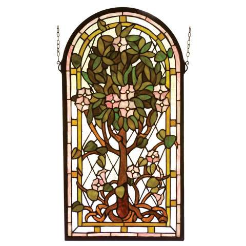 Meyda Tiffany 99049 Arched Tree Of Life Stained Glass Window in Bark Brown finish