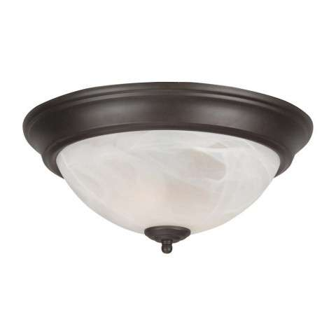 "Craftmade Exteriors Flushmount - Oiled Bronze 13"" Alabaster Glass Step Pan in Oiled Bronze"