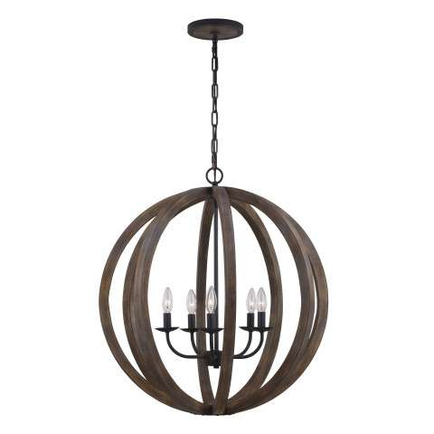Allier 5 Bulb WEATHER OAK WOOD / ANTIQUE FORGED IRON Chandelier Large Pendant