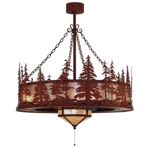 "Meyda 44"" Tall Pines Chandel-Air w/Fan Light in Red Rust Iron and Silver Mica w/Oil Bronze Fan"