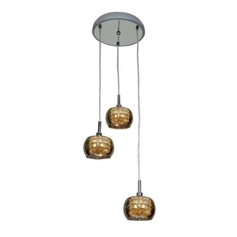 Glam Mirror Glass with Crystal 3 -Light Pendant