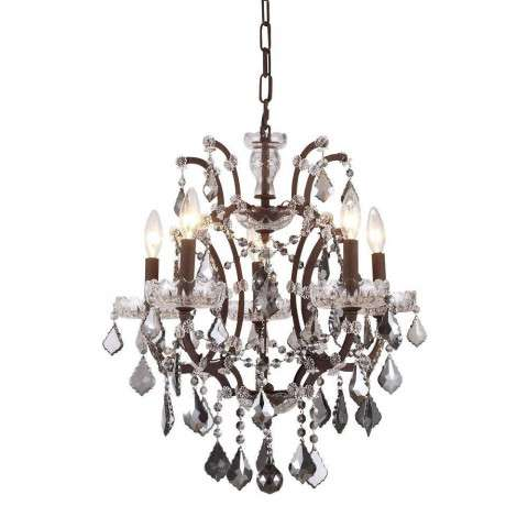 1138 Elena Collection Pendant Lamp D:18in H:22in Lt:5 Rustic Intent Finish Royal Cut Silver Shade (Grey)