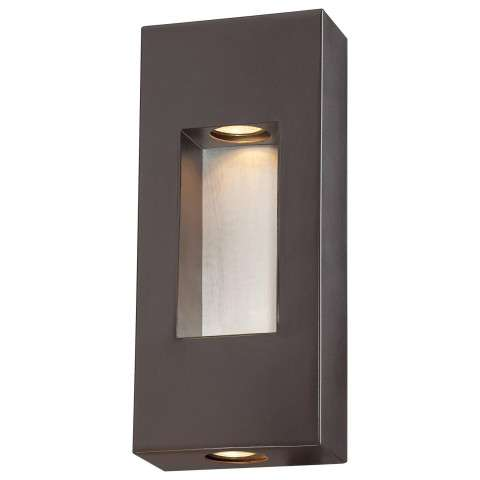 The Great Outdoors 2 Light Pocket Lantern In Dorian Bronze Finish W/Brushed Aluminum Center Accent