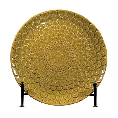 Charger - Charger Plate With Stand In Chartruese Glaze - Ceramic