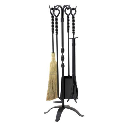 Uniflame T58650BK 5 Pc Twist Black Wrought Iron Fireset