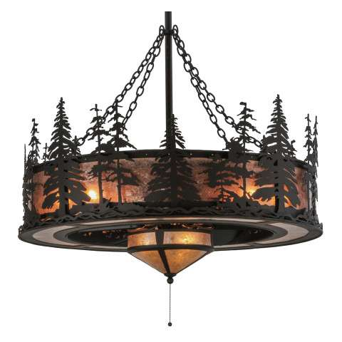 "Meyda 45"" Tall Pines Chandel-Air w/Fan Light in Oil Rubbed Bronze and Silver Mica w/Oil Bronze Fan"