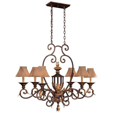 Metropolitan N6234-355 Six Light Island Light in Golden Bronze finish with Optional Shade Cloth Shades (Not. Incl.)